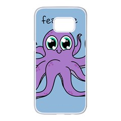 Colorful Cartoon Octopuses Pattern Fear Animals Sea Purple Samsung Galaxy S7 Edge White Seamless Case by Mariart