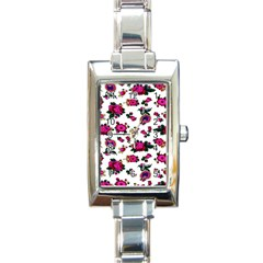 Crown Red Flower Floral Calm Rose Sunflower White Rectangle Italian Charm Watch by Mariart