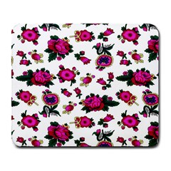 Crown Red Flower Floral Calm Rose Sunflower White Large Mousepads by Mariart