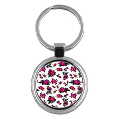 Crown Red Flower Floral Calm Rose Sunflower White Key Chains (round)  by Mariart