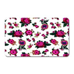 Crown Red Flower Floral Calm Rose Sunflower White Magnet (rectangular) by Mariart