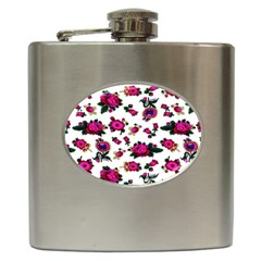 Crown Red Flower Floral Calm Rose Sunflower White Hip Flask (6 Oz) by Mariart