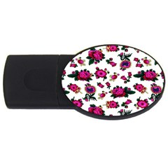 Crown Red Flower Floral Calm Rose Sunflower White Usb Flash Drive Oval (2 Gb) by Mariart