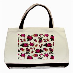 Crown Red Flower Floral Calm Rose Sunflower White Basic Tote Bag (two Sides) by Mariart