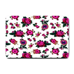 Crown Red Flower Floral Calm Rose Sunflower White Small Doormat  by Mariart