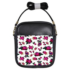 Crown Red Flower Floral Calm Rose Sunflower White Girls Sling Bags by Mariart