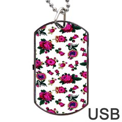 Crown Red Flower Floral Calm Rose Sunflower White Dog Tag Usb Flash (one Side)