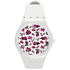 Crown Red Flower Floral Calm Rose Sunflower White Round Plastic Sport Watch (m) by Mariart