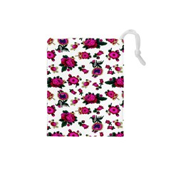 Crown Red Flower Floral Calm Rose Sunflower White Drawstring Pouches (small)  by Mariart
