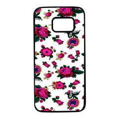 Crown Red Flower Floral Calm Rose Sunflower White Samsung Galaxy S7 Black Seamless Case by Mariart