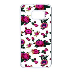 Crown Red Flower Floral Calm Rose Sunflower White Samsung Galaxy S7 White Seamless Case by Mariart