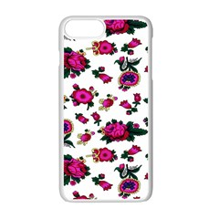 Crown Red Flower Floral Calm Rose Sunflower White Apple Iphone 7 Plus White Seamless Case by Mariart