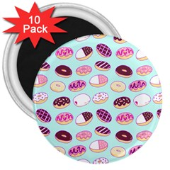 Donut Jelly Bread Sweet 3  Magnets (10 Pack)  by Mariart