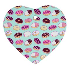 Donut Jelly Bread Sweet Heart Ornament (two Sides) by Mariart