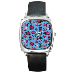 Crown Red Flower Floral Calm Rose Sunflower Square Metal Watch by Mariart