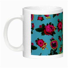 Crown Red Flower Floral Calm Rose Sunflower Night Luminous Mugs by Mariart