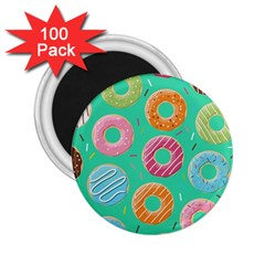 Doughnut Bread Donuts Green 2 25  Magnets (100 Pack)  by Mariart
