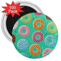 Doughnut Bread Donuts Green 3  Magnets (100 Pack) by Mariart