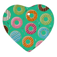 Doughnut Bread Donuts Green Heart Ornament (two Sides) by Mariart