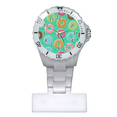 Doughnut Bread Donuts Green Plastic Nurses Watch by Mariart