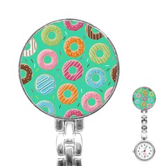 Doughnut Bread Donuts Green Stainless Steel Nurses Watch by Mariart