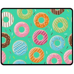 Doughnut Bread Donuts Green Double Sided Fleece Blanket (medium)  by Mariart