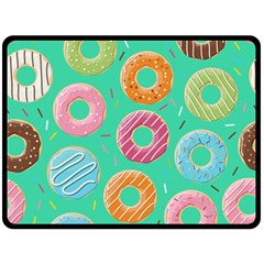 Doughnut Bread Donuts Green Double Sided Fleece Blanket (large)  by Mariart