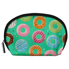 Doughnut Bread Donuts Green Accessory Pouches (large)