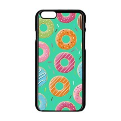 Doughnut Bread Donuts Green Apple Iphone 6/6s Black Enamel Case by Mariart