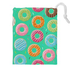Doughnut Bread Donuts Green Drawstring Pouches (xxl) by Mariart