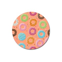 Doughnut Bread Donuts Orange Magnet 3  (round) by Mariart
