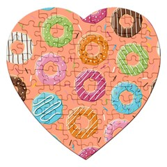 Doughnut Bread Donuts Orange Jigsaw Puzzle (heart) by Mariart