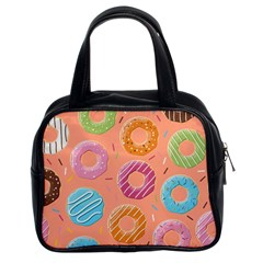 Doughnut Bread Donuts Orange Classic Handbags (2 Sides)
