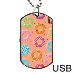 Doughnut Bread Donuts Orange Dog Tag Usb Flash (one Side) by Mariart
