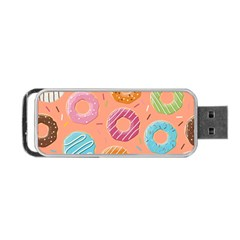 Doughnut Bread Donuts Orange Portable Usb Flash (two Sides) by Mariart
