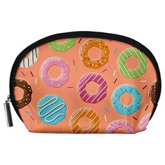 Doughnut Bread Donuts Orange Accessory Pouches (large)  by Mariart