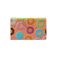 Doughnut Bread Donuts Orange Cosmetic Bag (xs) by Mariart