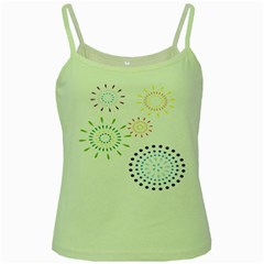 Fireworks Illustrations Fire Partty Polka Green Spaghetti Tank by Mariart