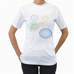 Fireworks Illustrations Fire Partty Polka Women s T Shirt (white) (two Sided) by Mariart