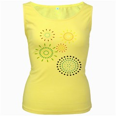 Fireworks Illustrations Fire Partty Polka Women s Yellow Tank Top