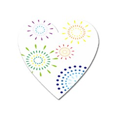 Fireworks Illustrations Fire Partty Polka Heart Magnet by Mariart