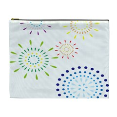 Fireworks Illustrations Fire Partty Polka Cosmetic Bag (xl)