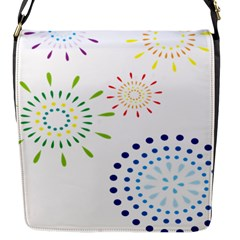 Fireworks Illustrations Fire Partty Polka Flap Messenger Bag (s) by Mariart