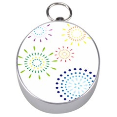 Fireworks Illustrations Fire Partty Polka Silver Compasses by Mariart