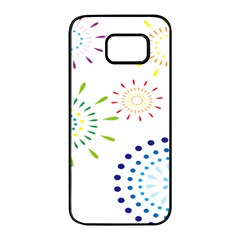 Fireworks Illustrations Fire Partty Polka Samsung Galaxy S7 Edge Black Seamless Case by Mariart
