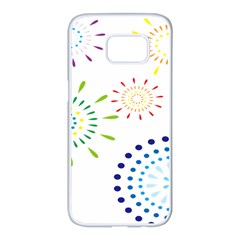 Fireworks Illustrations Fire Partty Polka Samsung Galaxy S7 Edge White Seamless Case by Mariart