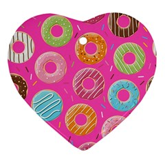Doughnut Bread Donuts Pink Ornament (heart) by Mariart