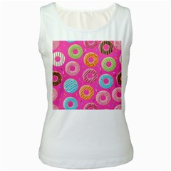 Doughnut Bread Donuts Pink Women s White Tank Top