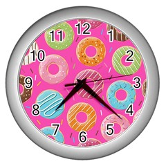 Doughnut Bread Donuts Pink Wall Clocks (silver)  by Mariart