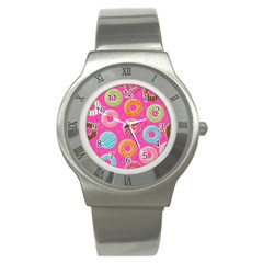 Doughnut Bread Donuts Pink Stainless Steel Watch